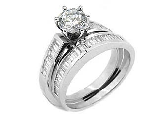 WOMENS DIAMOND ENGAGEMENT RING WEDDING BAND BRIDAL SET ROUND BAGUETTE WHITE GOLD