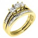 WOMENS DIAMOND ENGAGEMENT RING WEDDING BAND BRIDAL SET 3 STONE PRINCESS SQUARE