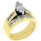 1.5CT WOMENS DIAMOND ENGAGEMENT RING WEDDING BAND SET .60 CENTER MARQUISE GOLD