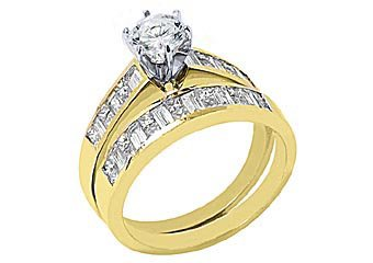 3 CARAT WOMENS DIAMOND ENGAGEMENT RING WEDDING BAND SET BRILLIANT ROUND SI1