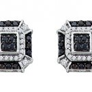 .48 CARAT BRILLIANT ROUND CUT BLACK DIAMOND STUD EARRINGS WHITE GOLD