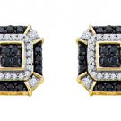 .48 CARAT BRILLIANT ROUND CUT BLACK DIAMOND STUD EARRINGS YELLOW GOLD