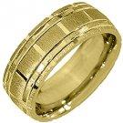 MENS WEDDING BAND ENGAGEMENT RING 14KT YELLOW GOLD SATIN LINES FINISH 7mm 140-AY