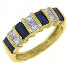 WOMENS BLUE SAPPHIRE DIAMOND RING WEDDING BAND 1.53 CARAT BAGUETTE SQUARE CUT YG