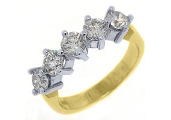 WOMENS 1.60CT BRILLIANT ROUND 5 STONE DIAMOND RING WEDDING BAND TWO TONE GOLD