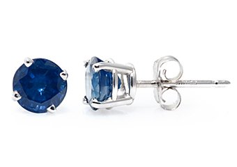 1.2 CARAT SAPPHIRE STUD EARRINGS 5mm ROUND 14KT WHITE GOLD SEPTEMBER BIRTH STONE