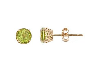 1 CARAT PERIDOT STUD EARRINGS 5mm ROUND 14KT YELLOW GOLD AUGUST BIRTH STONE