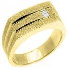 MENS 1/10 CARAT PRINCESS SQUARE CUT DIAMOND RING WEDDING BAND 14KT YELLOW GOLD