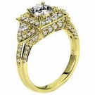 WOMENS DIAMOND ENGAGEMENT HALO RING ROUND CUT 2.04 CARAT 18K YELLOW GOLD