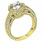 WOMENS DIAMOND ENGAGEMENT HALO RING ROUND CUT 2.25 CARAT 14K YELLOW GOLD