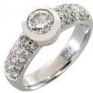 1.3 CARAT WOMENS DIAMOND ENGAGEMENT WEDDING RING ROUND CUT BEZEL WHITE GOLD