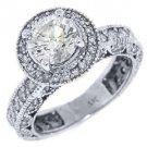2.4 CARAT WOMENS BRILLIANT ROUND CUT DIAMOND ENGAGEMENT RING HALO 14K WHITE GOLD
