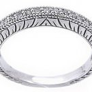 1/3 CARAT WOMENS ANTIQUE ROUND CUT DIAMOND RING WEDDING BAND 14K WHITE GOLD