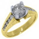 1.35 CARAT WOMENS ANTIQUE DIAMOND ENGAGEMENT WEDDING RING ROUND CUT YELLOW GOLD
