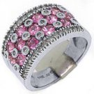 WOMENS PINK SAPPHIRE DIAMOND RING WEDDING BAND 3.38CT ROUND CUT 14KT WHITE GOLD