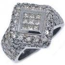 3 CARAT WOMENS PRINCESS SQUARE CUT DIAMOND ENGAGEMENT RING 18K WHITE GOLD