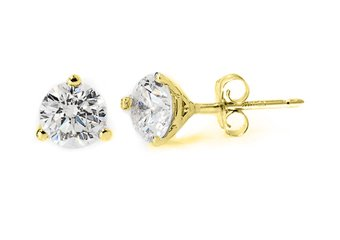 1.5 CARAT BRILLIANT ROUND CUT DIAMOND STUD EARRINGS 14K YELLOW GOLD MARTINI I1