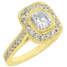 1.75 CARAT WOMENS DIAMOND ENGAGEMENT HALO WEDDING RING CUSHION CUT YELLOW GOLD