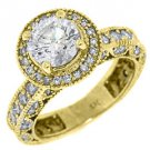 2.4 CARAT WOMENS BRILLIANT ROUND CUT DIAMOND ENGAGEMENT RING HALO YELLOW GOLD