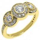 1.1 CARAT WOMENS 3-STONE PAST PRESENT FUTURE DIAMOND RING ROUND CUT YELLOW GOLD