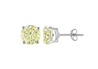 3.4 CARAT LIME QUARTZ STUD EARRINGS 8mm BRILLIANT ROUND CUT 925 SILVER