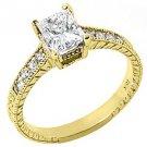 1.31CT WOMENS ANTIQUE DIAMOND ENGAGEMENT WEDDING RING PRINCESS CUT YELLOW GOLD