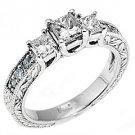 1.25CT WOMENS 3-STONE PAST PRESENT FUTURE DIAMOND RING PRINCESS CUT WHITE GOLD