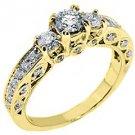 1.5 CARAT WOMENS 3-STONE PAST PRESENT FUTURE DIAMOND RING ROUND CUT YELLOW GOLD