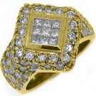 3 CARAT WOMENS PRINCESS SQUARE CUT DIAMOND ENGAGEMENT RING 18K YELLOW GOLD