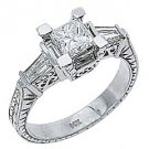 2 CARAT WOMENS ANTIQUE DIAMOND ENGAGEMENT RING PRINCESS BAGUETTE CUT WHITE GOLD