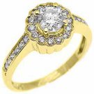 1 CARAT WOMENS BRILLIANT ROUND CUT DIAMOND HALO ENGAGEMENT RING 14K YELLOW GOLD