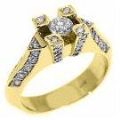 .87 CARAT WOMENS ANTIQUE ROUND CUT DIAMOND ENGAGEMENT RING 14K YELLOW GOLD