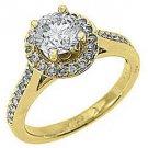 1.83 CARAT WOMENS DIAMOND ENGAGEMENT HALO WEDDING RING ROUND CUT 14K YELLOW GOLD