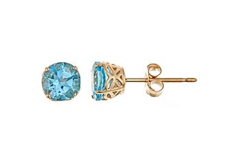 1.12CT BLUE TOPAZ STUD EARRINGS 5mm ROUND 14KT YELLOW GOLD DECEMBER BIRTH STONE