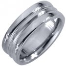 MENS WEDDING BAND ENGAGEMENT RING WHITE GOLD HIGH GLOSS 7mm