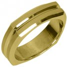 MENS WEDDING BAND ENGAGEMENT RING YELLOW GOLD SATIN & HIGH GLOSS 6mm