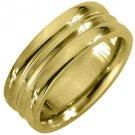 MENS WEDDING BAND ENGAGEMENT RING YELLOW GOLD HIGH GLOSS 7mm