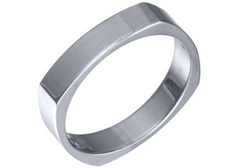 MENS WEDDING BAND ENGAGEMENT RING WHITE GOLD HIGH GLOSS 4mm