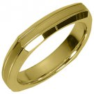 MENS WEDDING BAND ENGAGEMENT RING YELLOW GOLD SATIN & HIGH GLOSS 4mm
