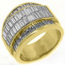 4.35CT WOMENS PRINCESS BAGUETTE INVISIBLE DIAMOND RING WEDDING BAND YELLOW GOLD
