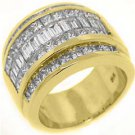 3.5CT WOMENS PRINCESS BAGUETTE INVISIBLE DIAMOND RING WEDDING BAND YELLOW GOLD