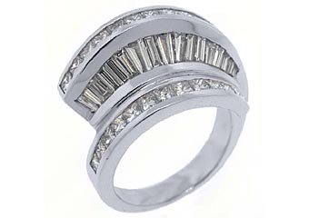 2.78CT WOMENS PRINCESS SQUARE BAGUETTE CUT DIAMOND RING WEDDING BAND WHITE GOLD