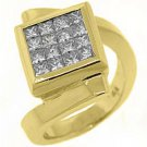 WOMENS 1.45 CARAT DIAMOND ENGAGEMENT RING PRINCESS SQUARE CUT 18KT YELLOW GOLD
