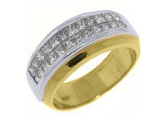 WOMENS 1.18CT PRINCESS SQUARE CUT DIAMOND RING WEDDING BAND TWO TONE GOLD