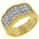 2.2CT WOMENS PRINCESS SQUARE CUT INVISIBLE DIAMOND RING WEDDING BAND YELLOW GOLD