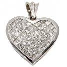 3 Carat Womens Diamond Heart Pendant Invisible Princess Square Cut White Gold