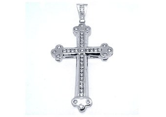 Mens Diamond Cross Pendant Brilliant Round Cut 3.63 Carats 14KT White Gold