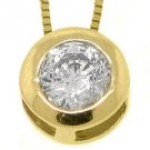Womens Solitaire Brilliant Round Cut Diamond Pendant 14KT Yellow Gold Bezel Set