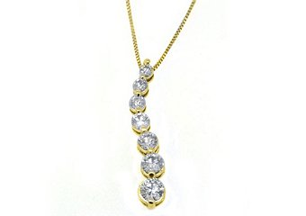 1 Carat Womens Diamond Journey Pendant 14KT Yellow Gold Brilliant Round Cut