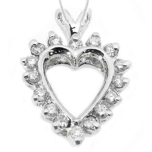 1/2 Carat Diamond Heart Shape Pendant 14KT White Gold Brilliant Round Diamonds